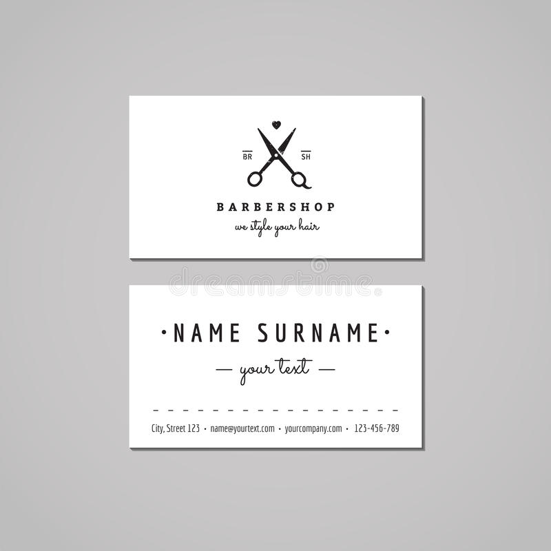 Barbershop business card design concept. Barbershop logo with scissors and heart. Vintage, hipster and retro style. vector illustration