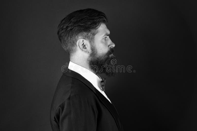 Barbershop-concept Stylist-modeexpert Suite stijl Modetrends voor groom Grijsveegde hipper slijtkop stock afbeeldingen