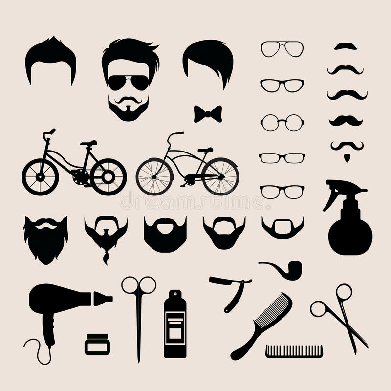 Barbershop hair cut mobile app flat vector hipster haircut beard. Flat style set of male hipster haircut mustache glasses beard barber shop icons vector royalty free illustration