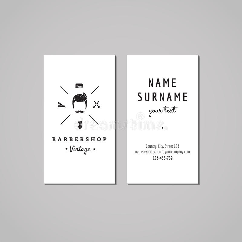 Barbershop (hair salon) business card design concept. Barbershop logo with a mustached man. Vintage, hipster and retro style. vector illustration