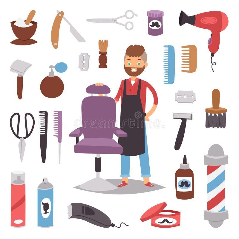 Barbershop hairdresser beard hipster man vector character making haircut saloon tools beauty barber shop hair care. Accessories flat design illustration. Modern stock illustration