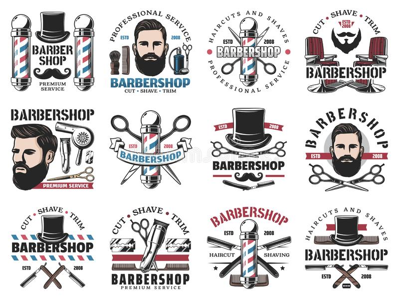 Barbershop icons, beard shaving and haircut salon. Beard shaving and styling, barbershop isolated icons. Vector haircut and hairstyle, professional barber or stock illustration