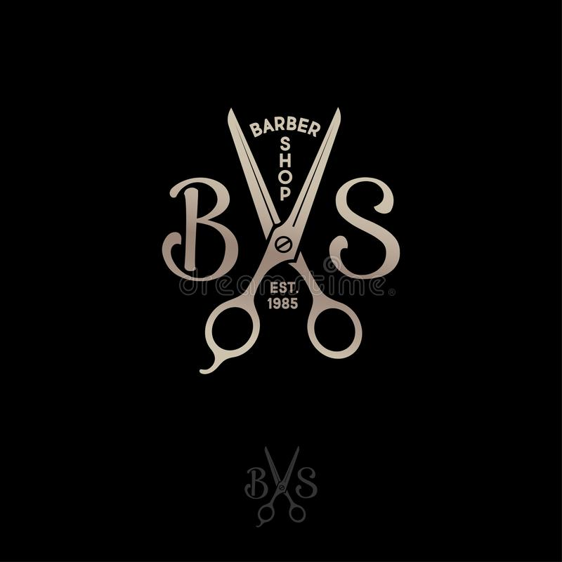 Barbershop logo. B and S letters with scissors on a dark background. royalty free illustration