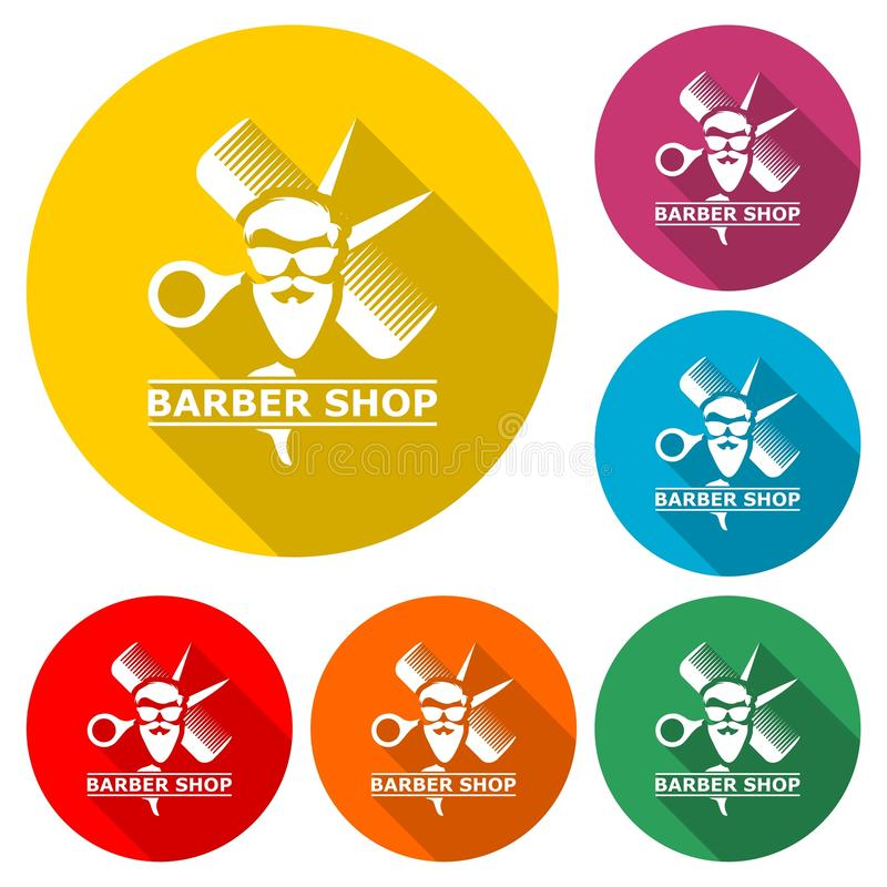 Barbershop Logo, Barber shop icon, color set with long shadow stock illustration