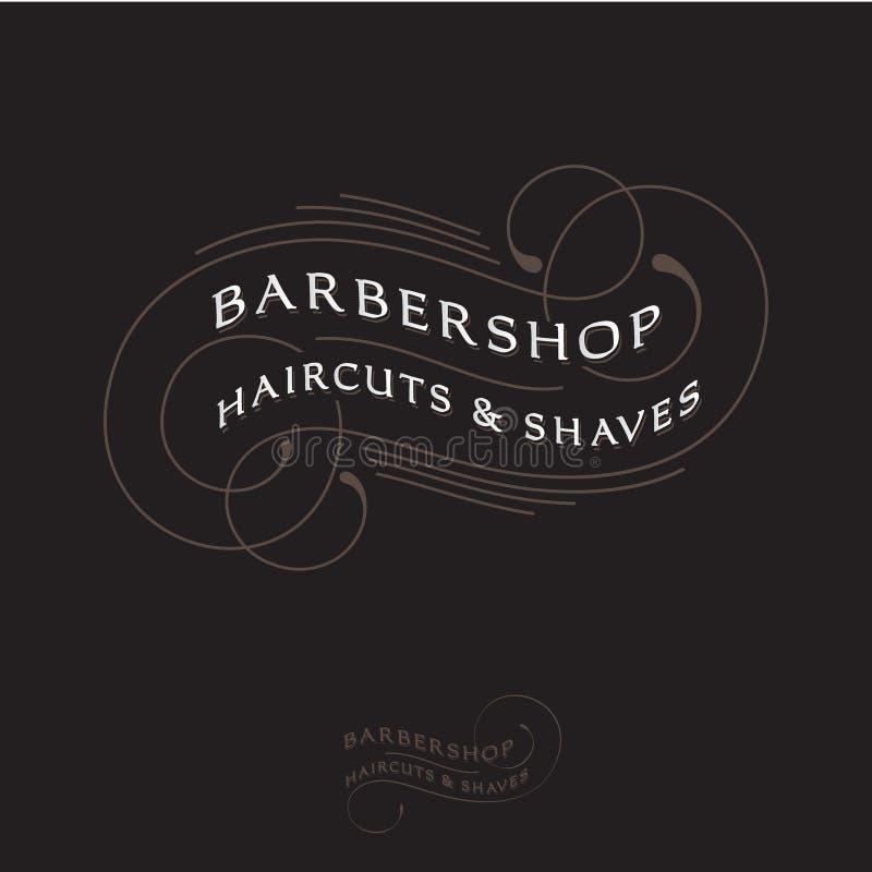 Barbershop logo. Calligraphy composition. Letters and curly elements like vintage emblem. vector illustration