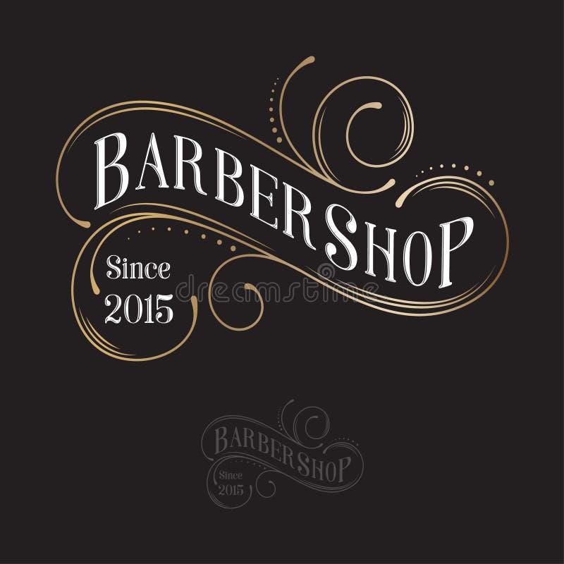Barbershop logo. Calligraphy composition. Letters and curly elements like vintage emblem. royalty free illustration
