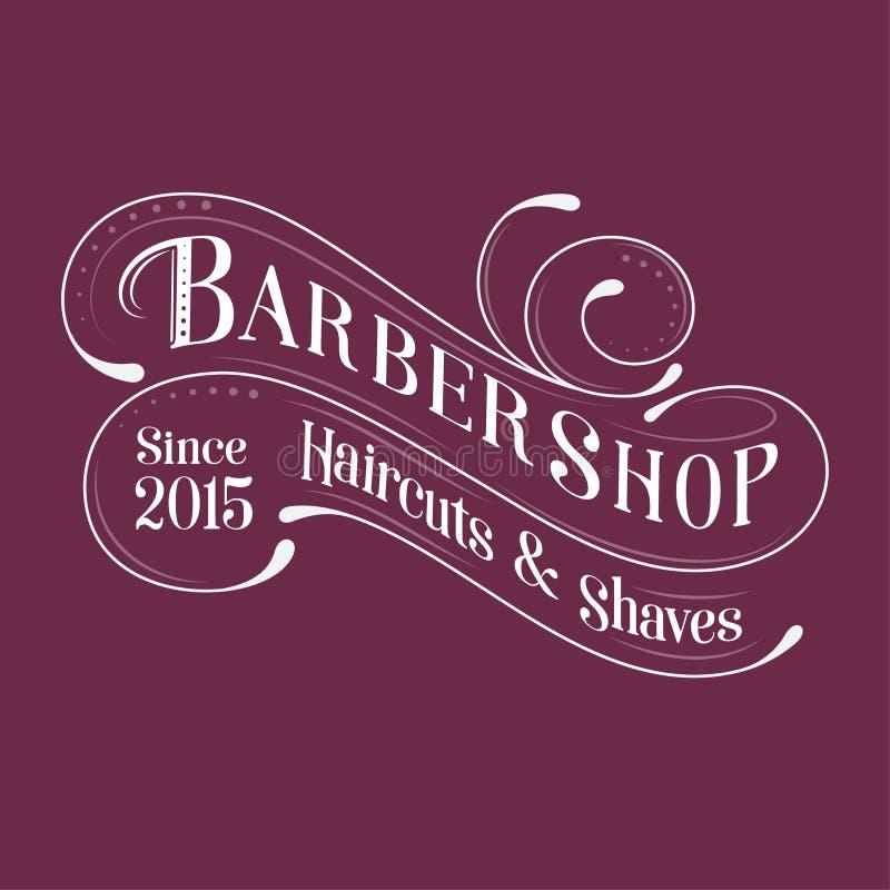 Barbershop logo. Calligraphy composition. Letters and curly elements like vintage emblem. stock illustration