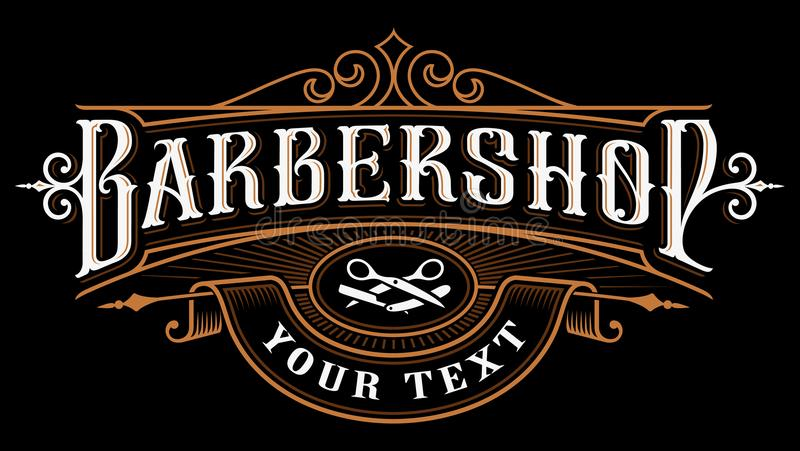 Barbershop logo design. Vintage lettering illustration on dark background. All objects, text are on the separate groups royalty free illustration
