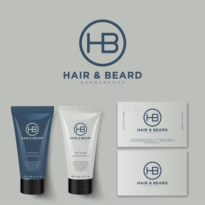 Barbershop logo and identity. H and B letters. Men`s cosmetics logo emblem. royalty free illustration