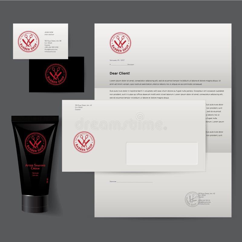 Barbershop logo and identity. Men`s cosmetics logo emblem. Corporate style. royalty free illustration