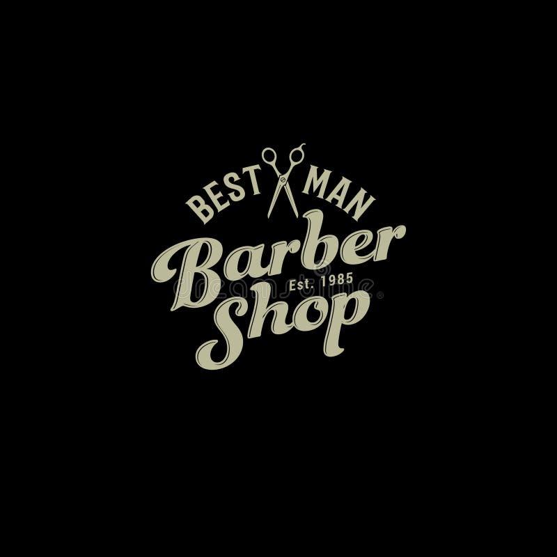 Barbershop logo. Scissors and letters like an emblem on a dark background. vector illustration