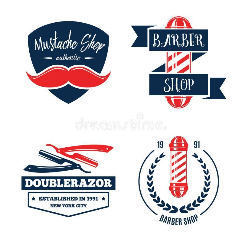 Barbershop logo vintage isolated set vector illustration. Hairdresser symbols. Beard badge. Barbershop label collection. vector illustration