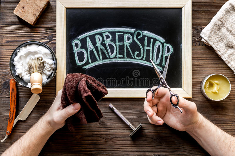 Barbershop for men with tools on wooden background top view. Barbershop for men with tools for shaving on wooden table background top view royalty free stock images