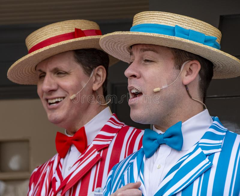 Barbershop Performers at the Magic Kingdom, Anaheim. Two of the four Barbershop singers entertaining guests at Disneyland, Anaheim California during the royalty free stock photography