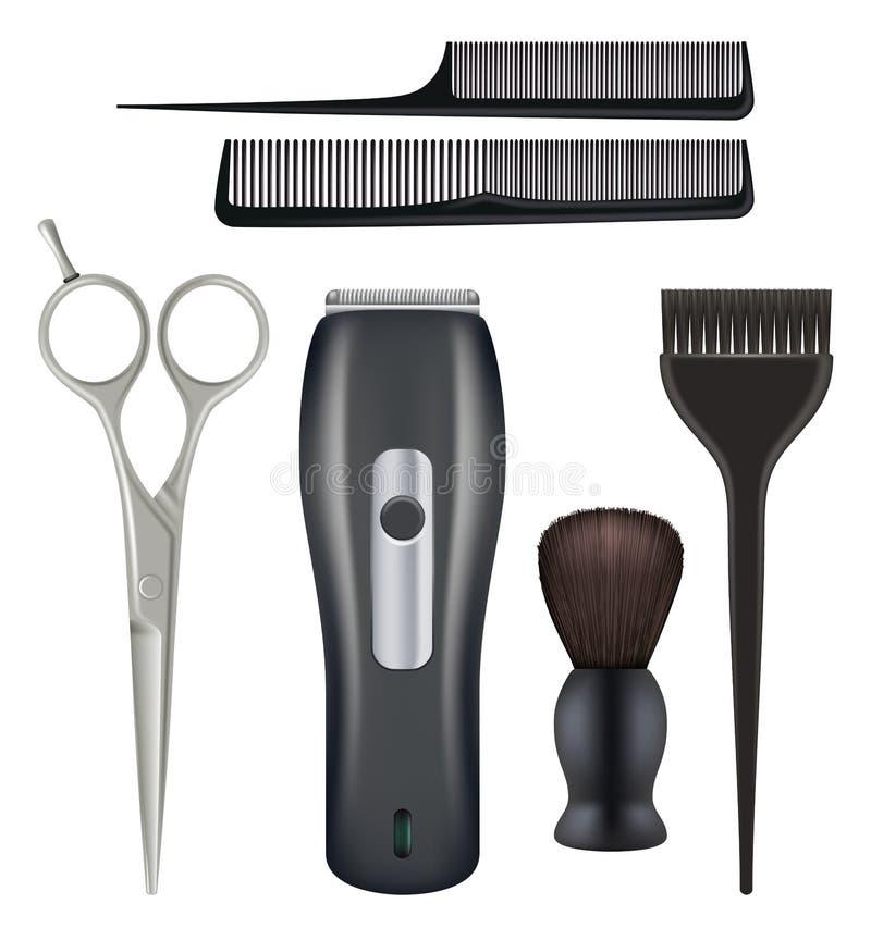 Barbershop realistisch Barber tools kappersser schoonheidssalon tools comb schaarste vectorillustraties van blades royalty-vrije illustratie