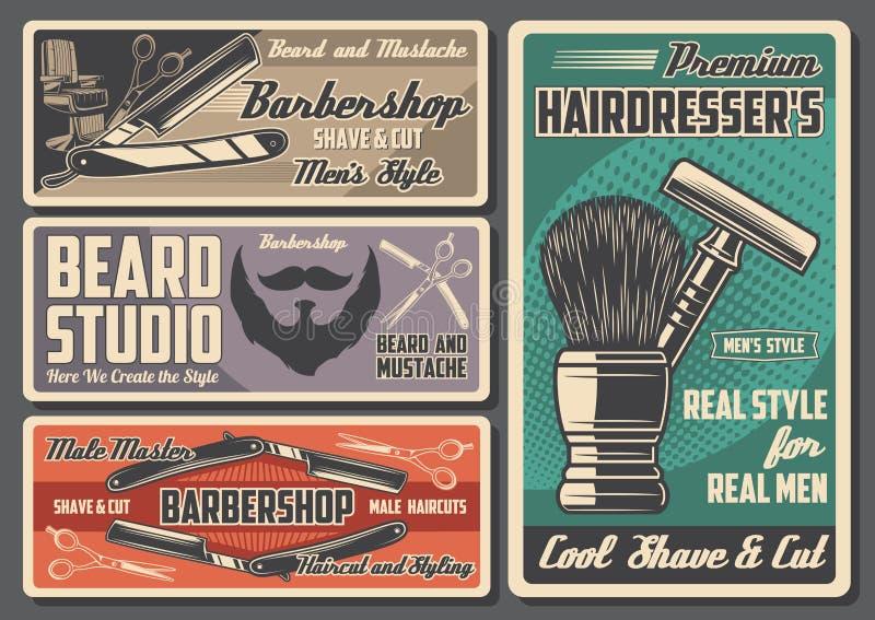 Barbershop retro design, kapsalon royalty-vrije illustratie