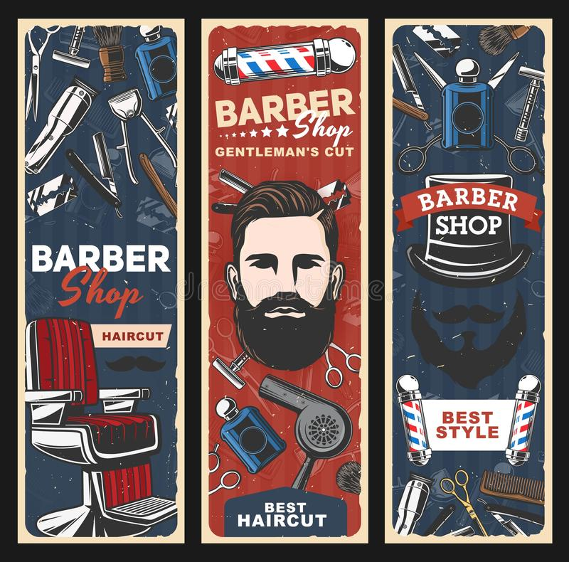 Barbershop, scheermes, palen en man met baard vector illustratie