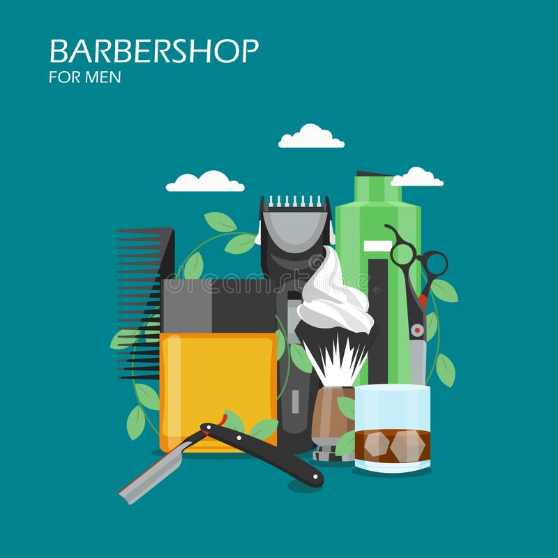 Barbershop services vector flat style design illustration royalty free illustration