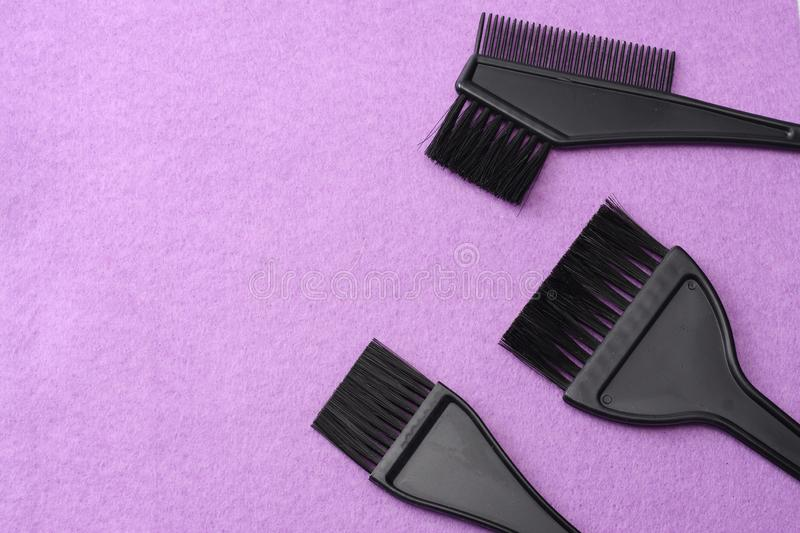 Barbershop tools on pink felt background. top view stock photography