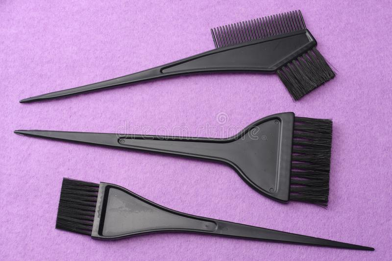 Barbershop tools on pink felt background. top view royalty free stock image