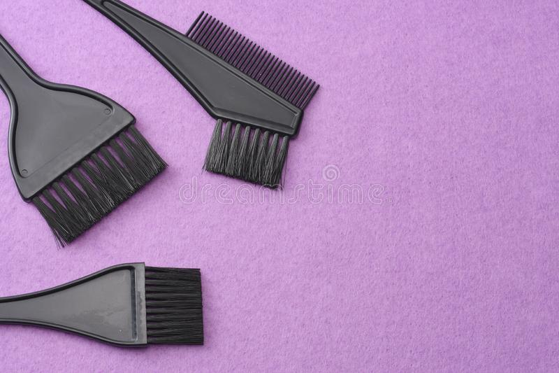 Barbershop tools on pink felt background. top view royalty free stock photos