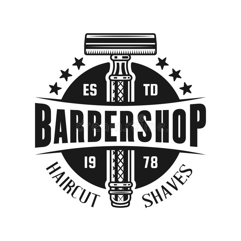 Barbershop Emblem With Two Crossed Straight Razors Stock