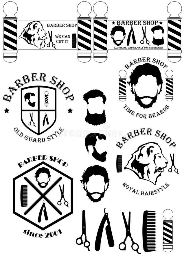 BarberShopSignsAndTools 库存例证
