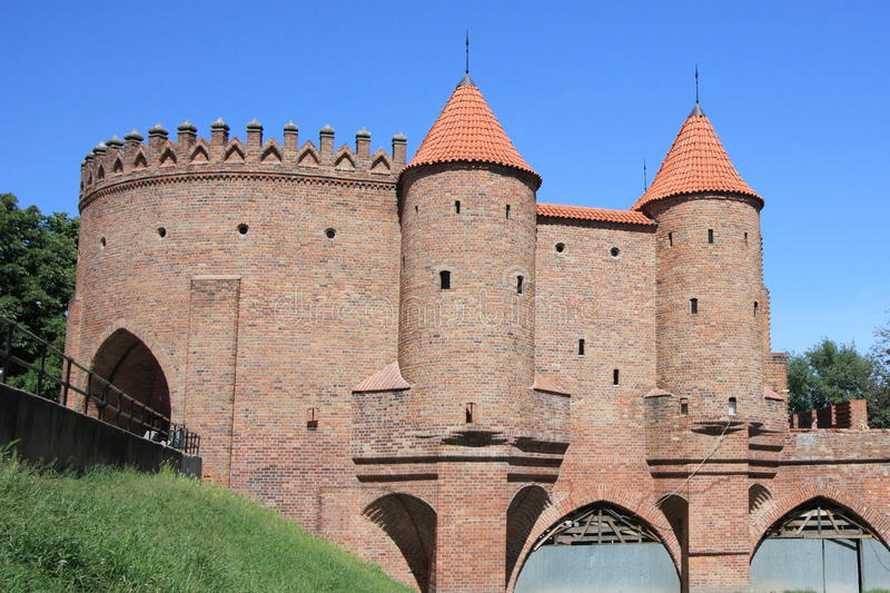Barbican city wall, historic landmark in Warsaw. City wall protecting the city of Warsaw in Poland royalty free stock photos