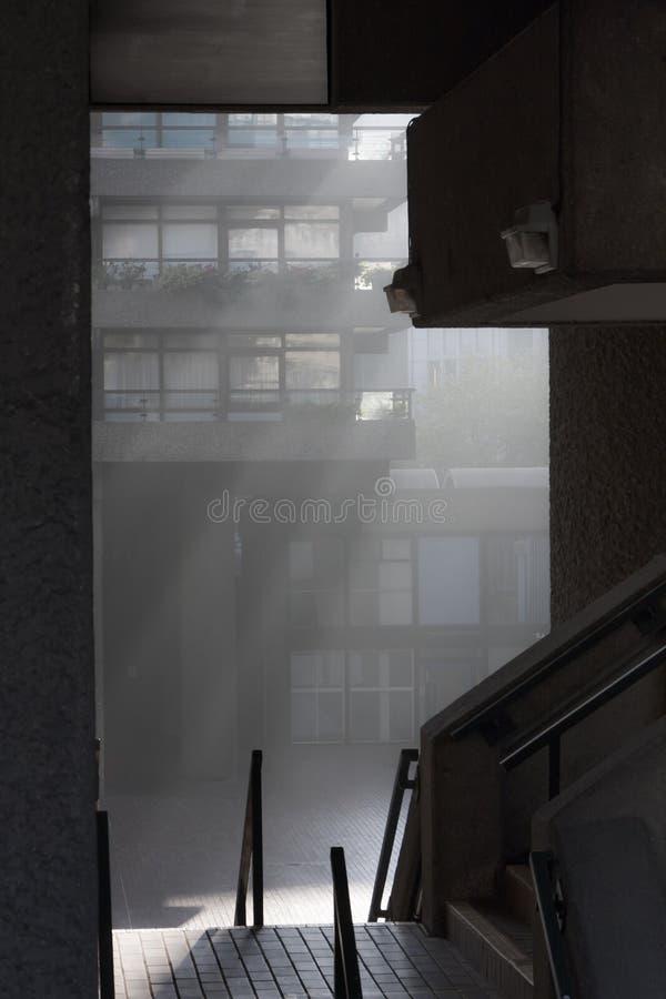 Barbican Fog. Morning fog in Barbican Centre stock photos