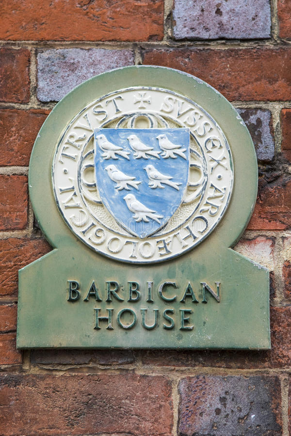 Barbican House in Lewes. The sign for Barbican House in the town of Lewes in Sussex, UK. The Barbican House Museum is home to a fine archaeological collection stock photo