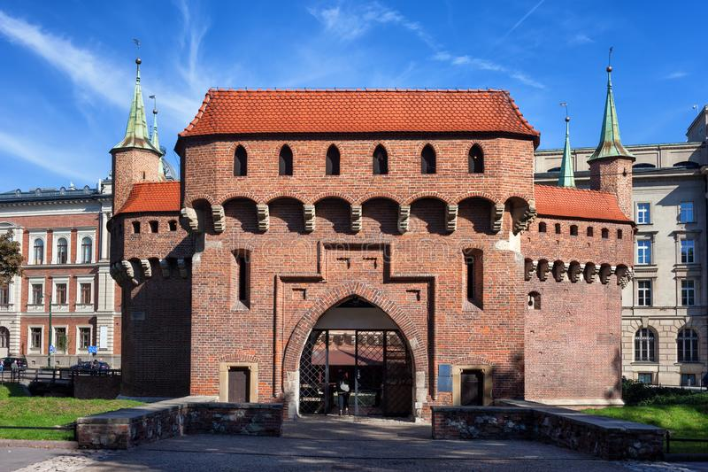 The Barbican in Krakow. Barbican in Old Town of Krakow, Poland, part of the old city wall fortification, fortified outpost from 15th century royalty free stock photo