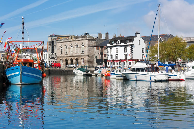 Barbican Plymouth Devon England. Beautiful sunny day at the harbour in the Barbican area of Plymouth Devon England UK royalty free stock photos