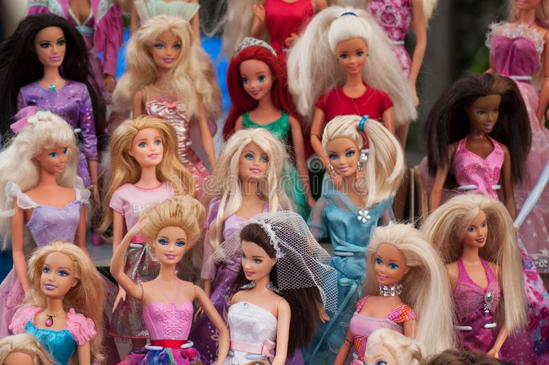 Barbie dolls collection at flea market in the street royalty free stock photos