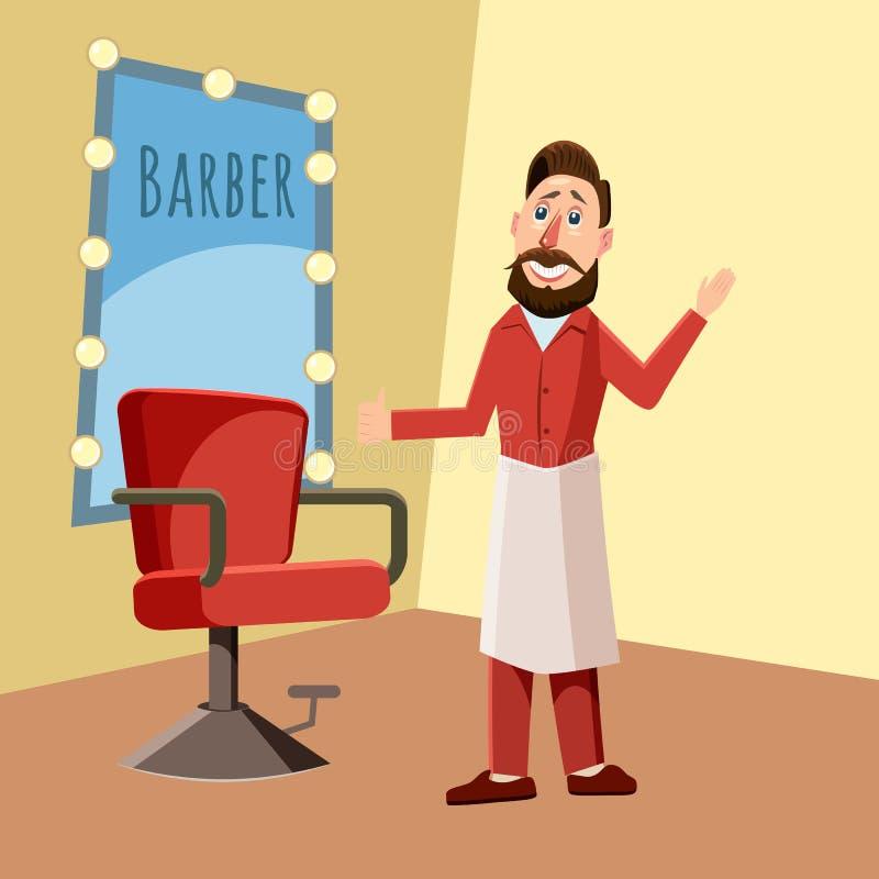 Barbiere nel negozio di barbiere, illustrazione di vettore di stile del fumetto illustrazione vettoriale