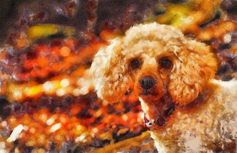 Barboncino di bianchi in foglie di autunno della foresta di autunno belle effetto della pittura del computer illustrazione vettoriale