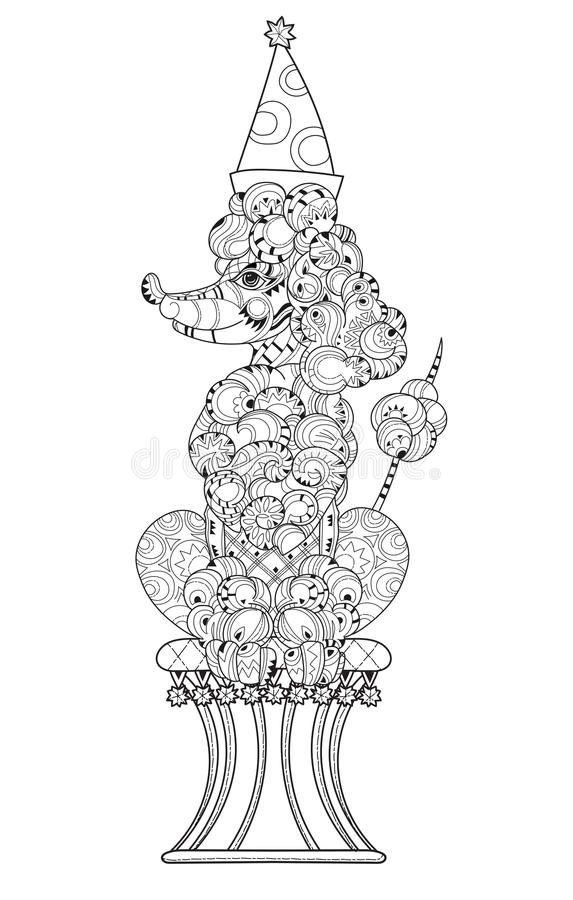 Barboncino disegnato a mano del profilo di scarabocchio illustrazione vettoriale