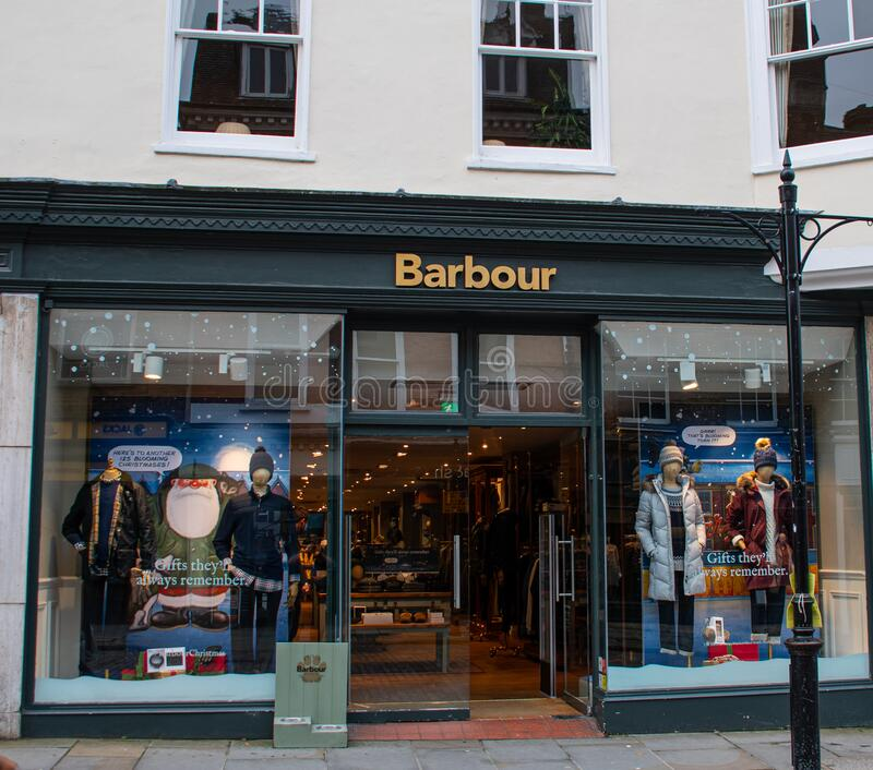 Barbour Shop Guildford stock afbeelding
