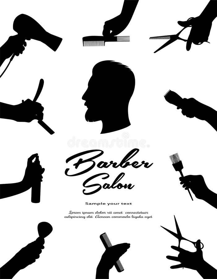 barbra Τρίχα ομορφιάς και Hairdressing σαλόνι Ομορφιά της τρίχας, της γενειάδας και mustache των ατόμων απεικόνιση αποθεμάτων