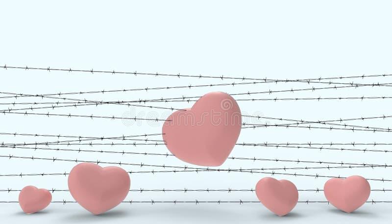 Barbwire和心脏被监禁了和失望和哀伤的爱当代现代蓝色浆糊的例证 库存例证