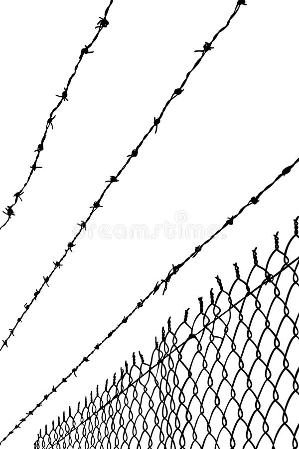 Barbwire. As background, black color silhouette vector royalty free illustration