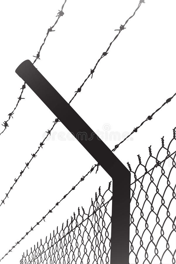 Barbwire. A barbwire as background, black color silhouette vector stock illustration