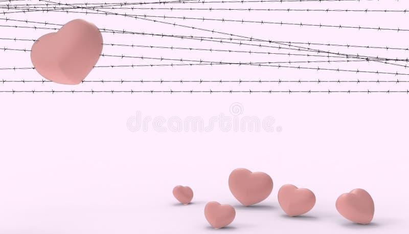 Barbwire et l'emprisonnement rouge de coeur de groupes et les illustrations du moderne contemporain de déception et d'amour trist illustration stock
