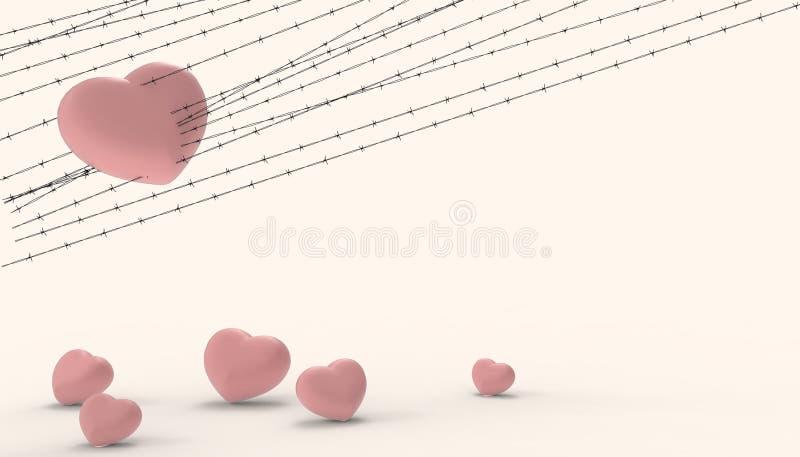 Barbwire et l'emprisonnement rouge de coeur de groupes et les illustrations de la pâte jaune moderne de déception et d'amour tris illustration stock