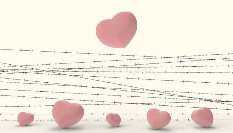 Barbwire et l'emprisonnement rouge de coeur et les illustrations de la pâte jaune moderne contemporaine de déception et d'amour t illustration stock
