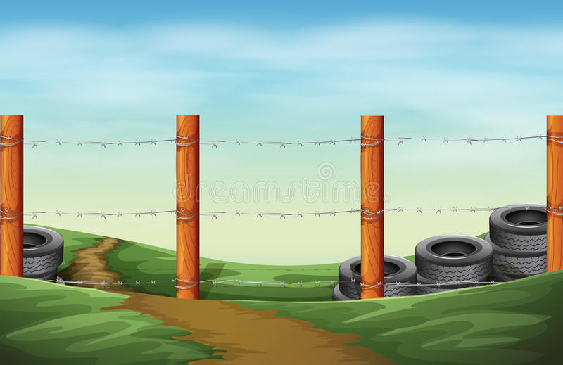 A barbwire fence. Illustration of a barbwire fence royalty free illustration