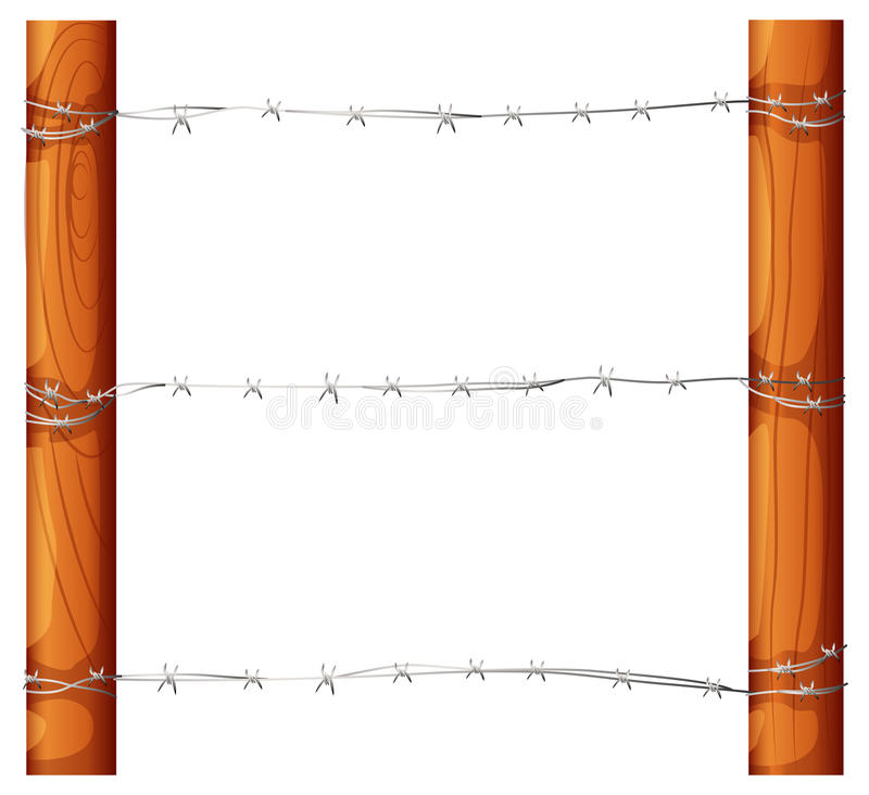 A barbwire fence. Illustration of a barbwire fence on a white background vector illustration