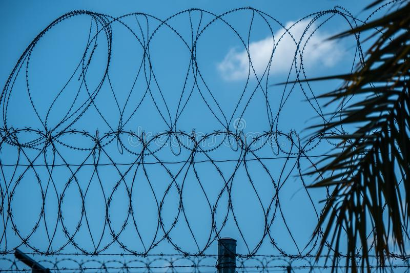 Barbwire fence at the Mexican Border stock photography