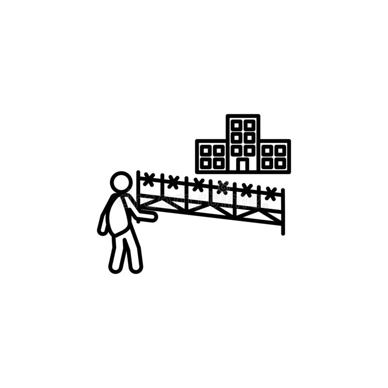Barbwire, fence, migration icon. Element of social problem and refugees icon. Thin line icon for website design and development,. App development. Premium icon stock illustration