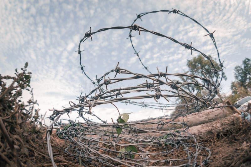 Barbwire-Freien gegen Himmel lizenzfreies stockfoto