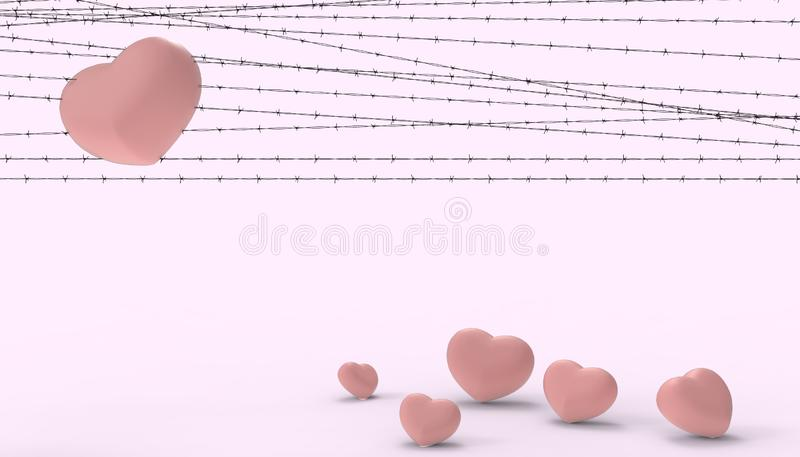 Barbwire and the Groups heart Red imprisoned and the illustrations of the disappointment and sad love contemporary modern. Purple paste background - 3D stock illustration